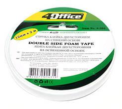 Клейка стрічка 2х-стороння монтажна, пінна основа.,12мм*2м, 4-394, 4Office (1/24/144)