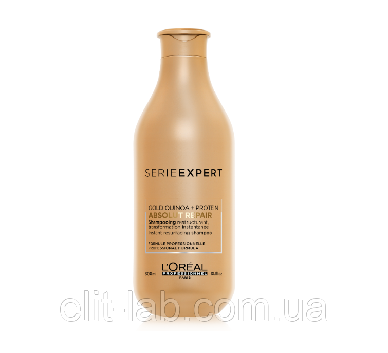 Восстанавливающий шампунь для поврежденных волос,L'Oreal Professionnel Absolut Repair Gold Quinoa  300 мл