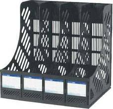 Лоток для паперів Economix, вертикальний збірний на 4 відділення, пластик, чорний