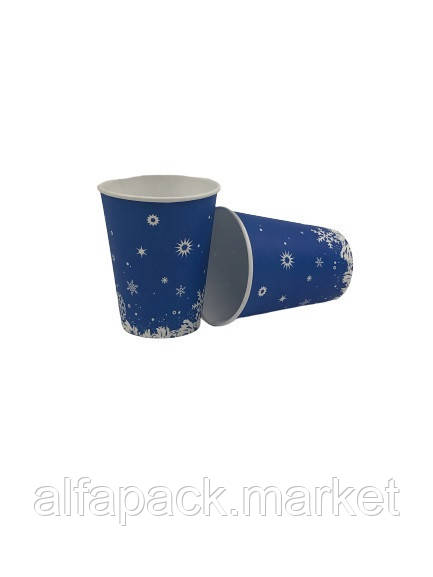 """Стакан одноразовый бумажный 110 мл """"Снежинка"""" (50 шт в упаковке) 061410027"""