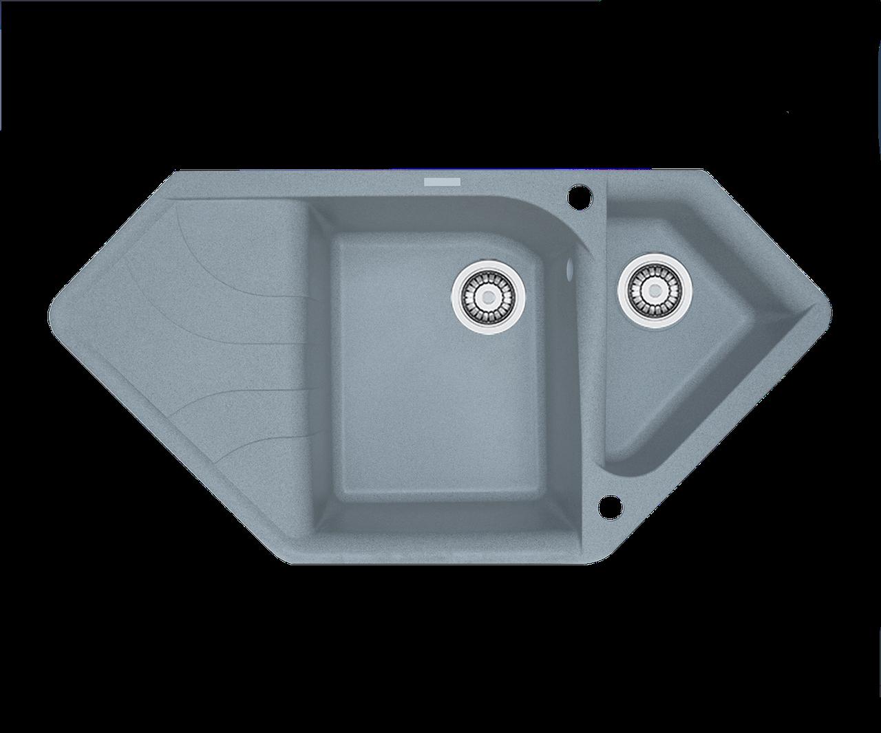 Кухонна мийка гранітна Borgio TRZ-1000x500 сірий металік