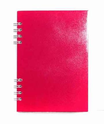 Блокнот А6, 64 аркушів,  флуоресцентний, пружина зверху, 5 кольорів, фото 2