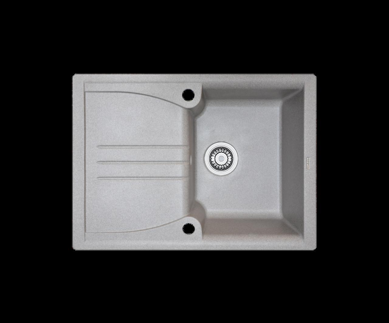 Кухонна мийка гранітна Borgio PRA-680x500 сірий камінь