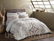 Комплект постельного белья сатин delux tac евро размер GINZA GOLD