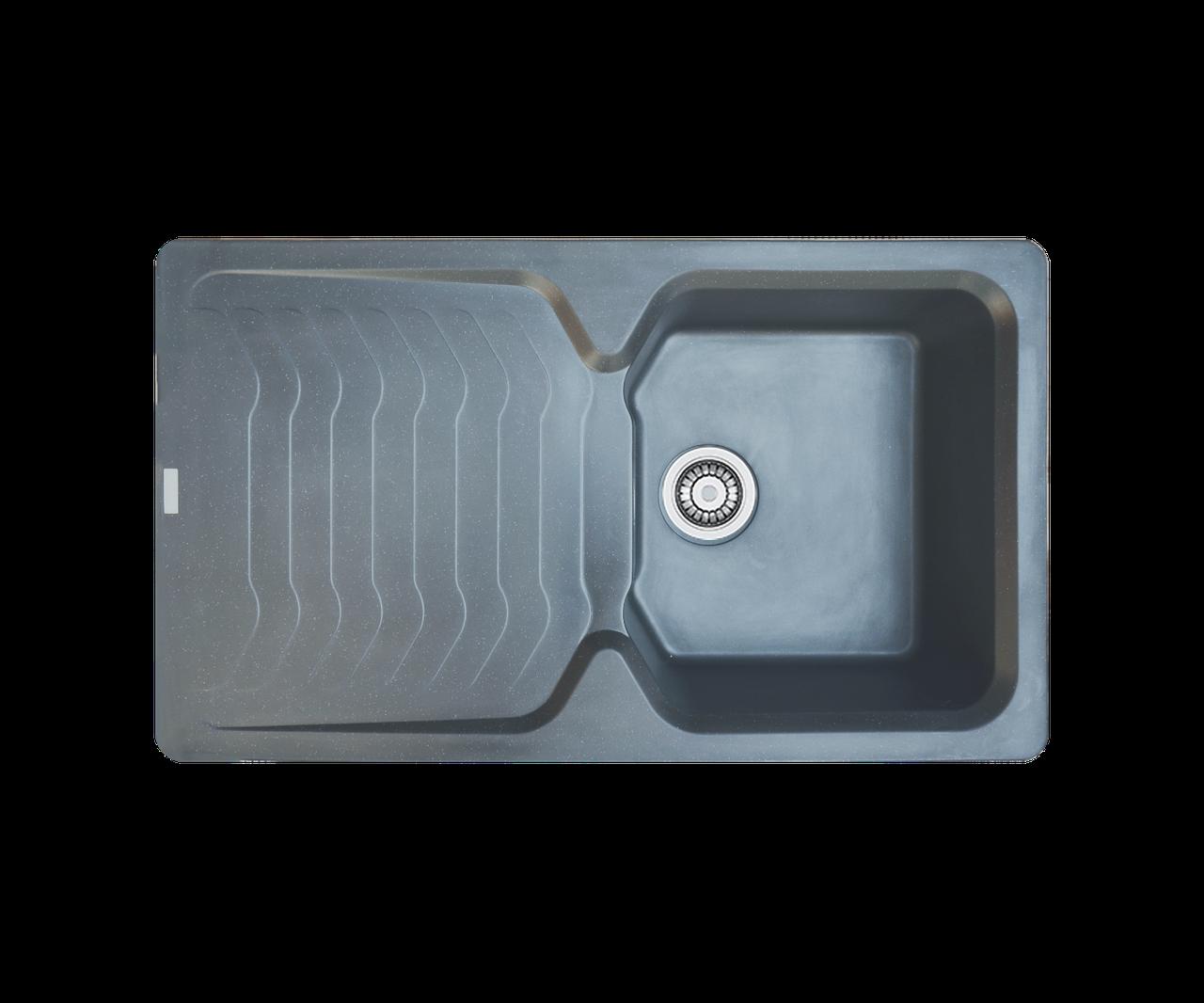 Кухонна мийка гранітна Borgio PRT-860х500 сірий металік