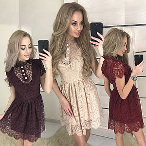 Короткое женское платье из гипюра /разные цвета, 42-46, ft-387/