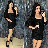 Красивое блестящее платье чёрное