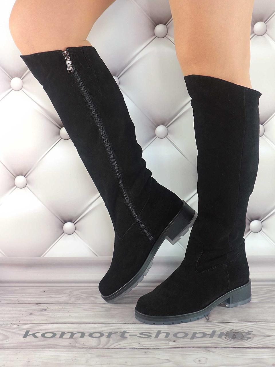 Женские зимние замшевые черные  сапоги   V 1275
