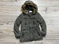 Демисезонная джинсовая куртка - парка, со съемным капюшоном ( Подкладка- мех). 134- 140 рост.