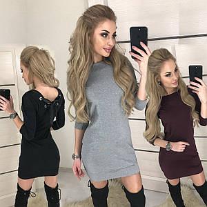 Короткое женское платье из трикотажа /разные цвета, 42-46, ft-390/