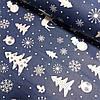 Ранфорс с белыми ёлками, оленями, снежинками на тёмно-синем, ширина 80 см