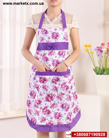 Сиреневый кухонный фартук с бантом и кружевом в цветах