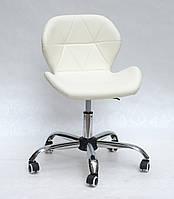 Кресло мастера на колесиках Invar Office (Инвар) ЭкоКожа молочный