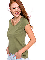 Женская футболка Lc Waikiki / Лс Вайкики цвета хаки с карманом на груди, фото 1