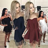 Короткое летнее платье без рукавов /разные цвета, 42-46, ft-392/