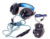 Игровые наушники Kotion Each G2000 и мышка LED G-509-7 5180 Набор геймера нушники+мышка