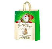 Пакет подарочный Новогодний 37х24х10 см (MiksPPA-3 001), Украина