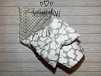 Плюшевый теплый зимний  плед - конверт на выписку , микки 100/80 см + объемный бант подушка  бант