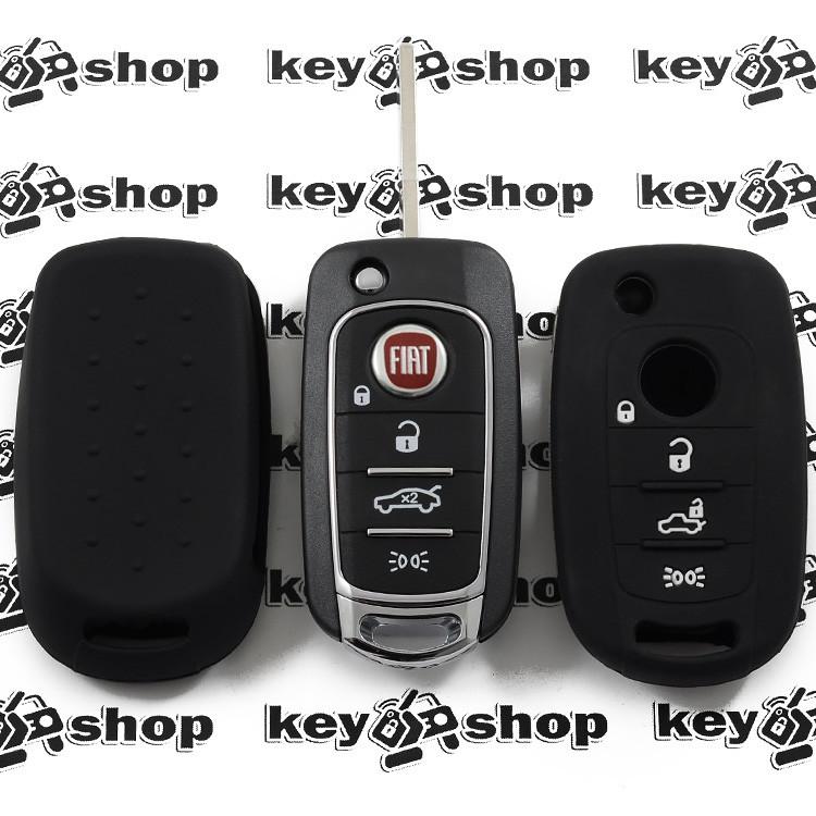 Чохол (чорний, силіконовий) для выкидного ключа Fiat (Фіат) 4 кнопки