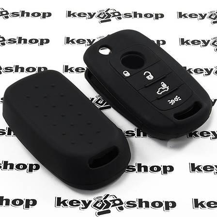 Чехол (черный, силиконовый) для выкидного ключа Fiat (Фиат) 4 кнопки, фото 2