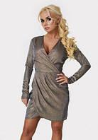 Платье нарядное праздничное на запах короткое бронзового цвета блестящее