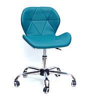 Кресло мастера на колесиках Invar Office (Инвар) ЭкоКожа зеленый02