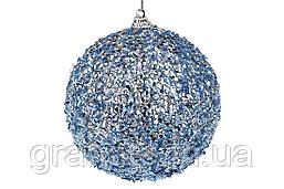 Елочный шар 10см, цвет - синий металлик (24 шт)