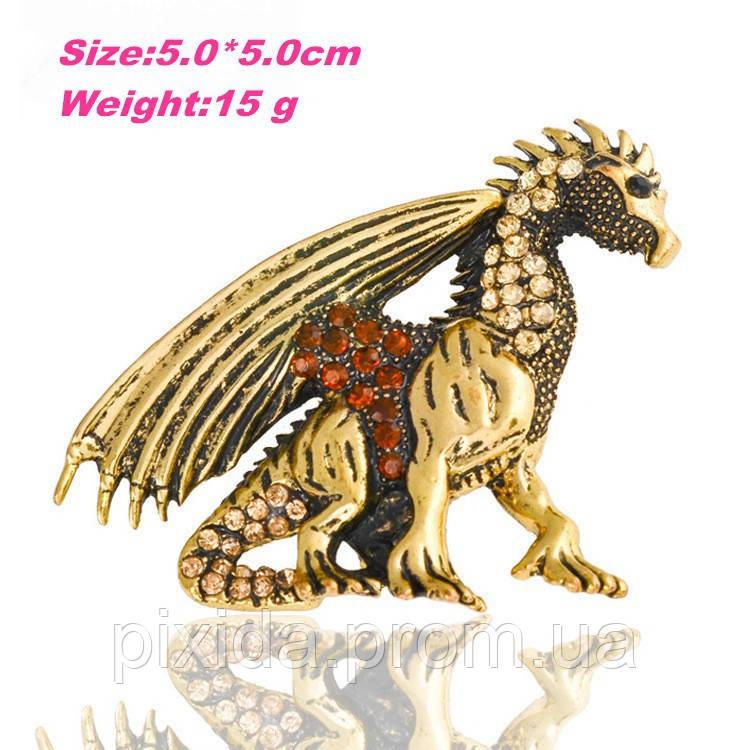 Брошь дракон золотистый