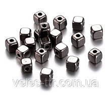 Бусина разделитель металлическая Кубик черный 4х4х4 мм