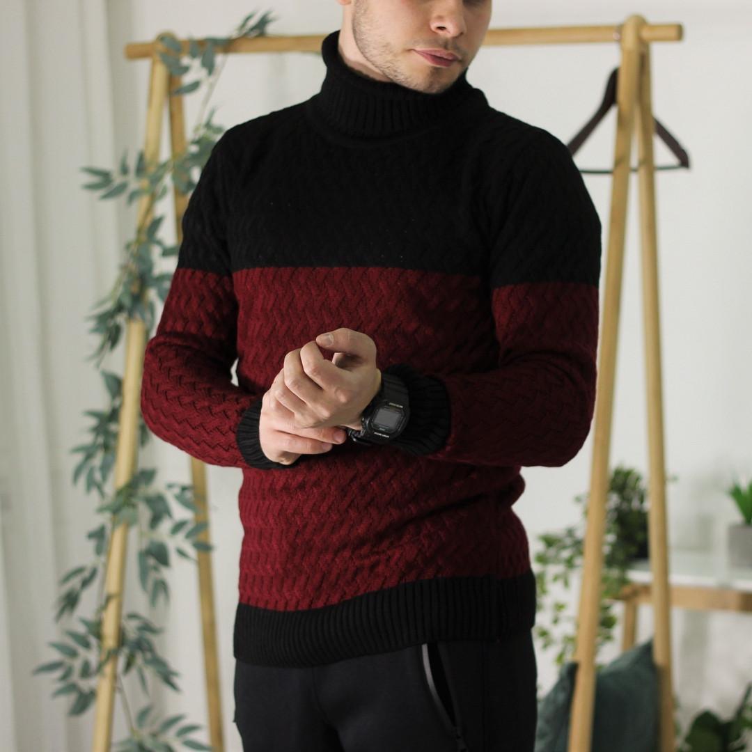 Мужской теплый свитер с подворотом черный с бордовым Турция. Живое фото. Есть другие цвета