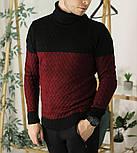 Мужской теплый свитер с подворотом черный с бордовым Турция. Живое фото. Есть другие цвета, фото 2