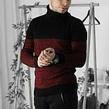 Мужской теплый свитер с подворотом черный с бордовым Турция. Живое фото. Есть другие цвета, фото 4