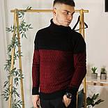 Мужской теплый свитер с подворотом черный с бордовым Турция. Живое фото. Есть другие цвета, фото 7