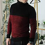 Мужской теплый свитер с подворотом черный с бордовым Турция. Живое фото. Есть другие цвета, фото 8