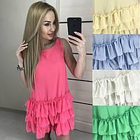Нарядное платье мультишифон низ с оборками /разные цвета, 42-46, ft-403/
