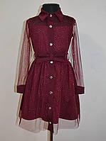 Нарядное платье для девочек 4-11 лет бордового цвета с фатином