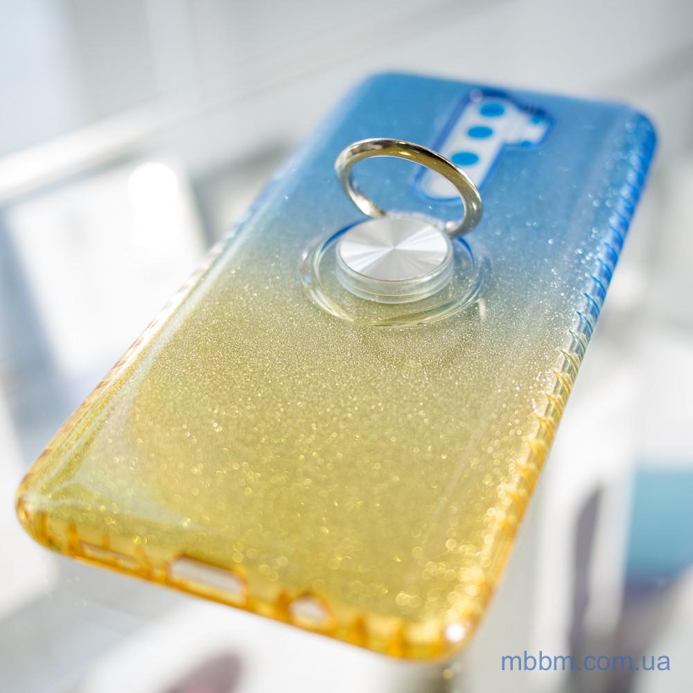 TPU Shine Gradient с кольцом Xiaomi Redmi Note 8 Pro голубой Голубой