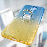 Чехол TPU Shine Gradient с кольцом Xiaomi Redmi Note 8 Pro голубой/желтый, фото 2