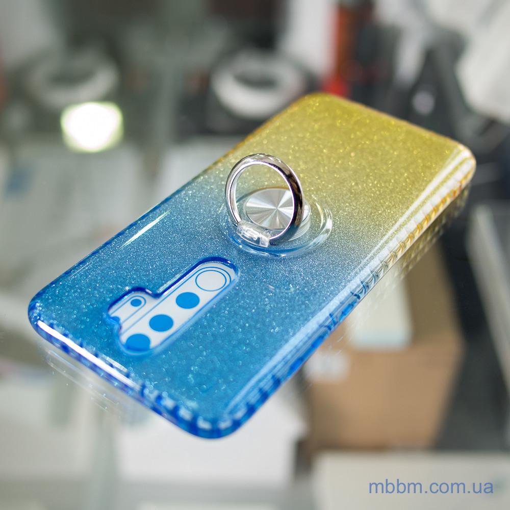TPU Shine Gradient с кольцом Xiaomi Redmi Note 8 Pro голубой Голубой желтый