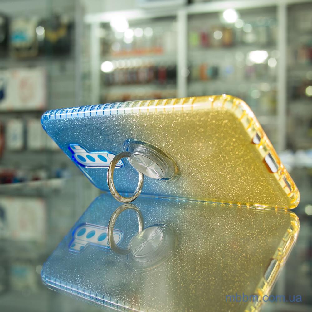 Чехол TPU Shine Gradient с кольцом Xiaomi Redmi Note 8 Pro голубой/желтый