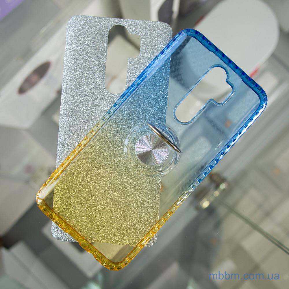 TPU Shine Gradient с кольцом Xiaomi Redmi Note 8 Pro голубой желтый