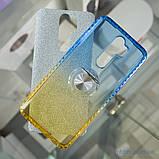 Чехол TPU Shine Gradient с кольцом Xiaomi Redmi Note 8 Pro голубой/желтый, фото 4