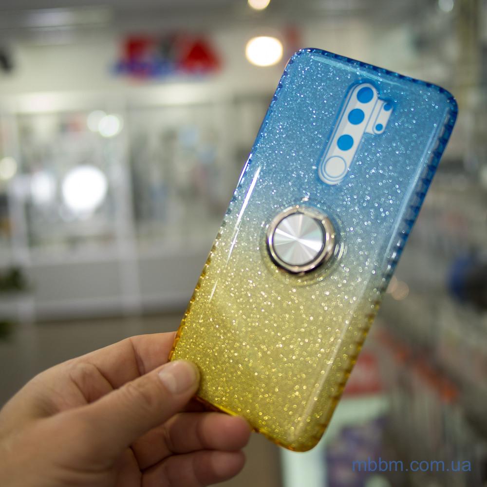 TPU Shine Gradient с кольцом Xiaomi Redmi Note 8 Pro голубой желтый Голубой
