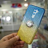 Чехол TPU Shine Gradient с кольцом Xiaomi Redmi Note 8 Pro голубой/желтый, фото 5