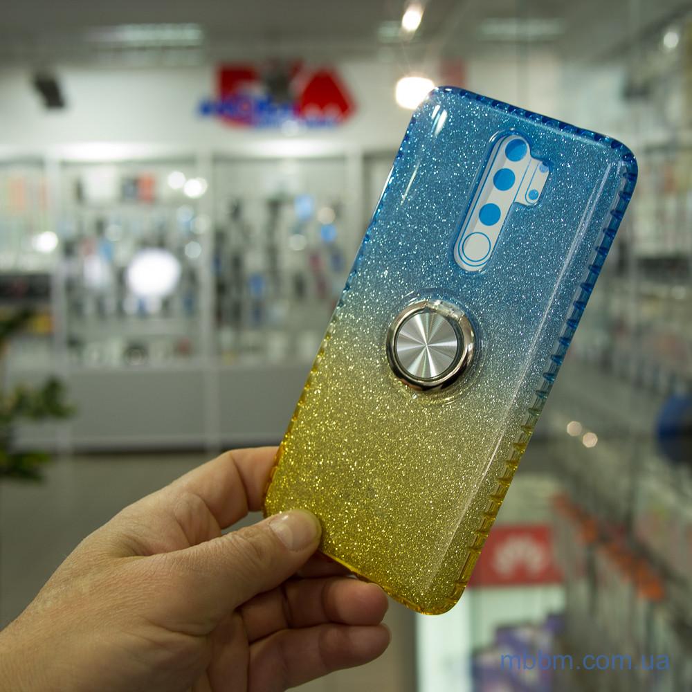 Чехол TPU Shine Gradient с кольцом Xiaomi Redmi Note 8 Pro голубой Голубой