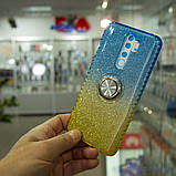 Чехол TPU Shine Gradient с кольцом Xiaomi Redmi Note 8 Pro голубой/желтый, фото 7
