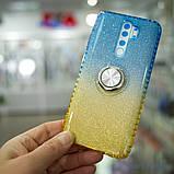 Чехол TPU Shine Gradient с кольцом Xiaomi Redmi Note 8 Pro голубой/желтый, фото 8