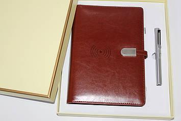 Набор подарочный блокнот со встроенным POWER BANK 16 GB флешка, ручка, коробка беспроводная зарядка
