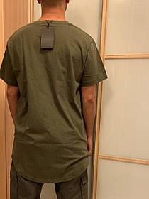 Удлиненная хаки олива гетто swag футболка с закругленным низом оверсайз oversize Kenny West
