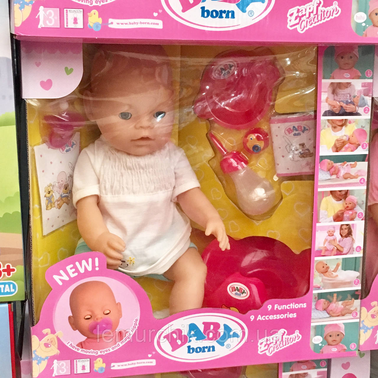 Кукла-пупс Baby born копия, 9 функций, 9 аксессуаров летняя одежда